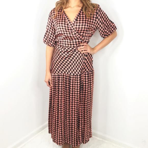 Topshop Dresses & Skirts - TOPSHOP Pink Black Checkered Maxi Wrap Dress